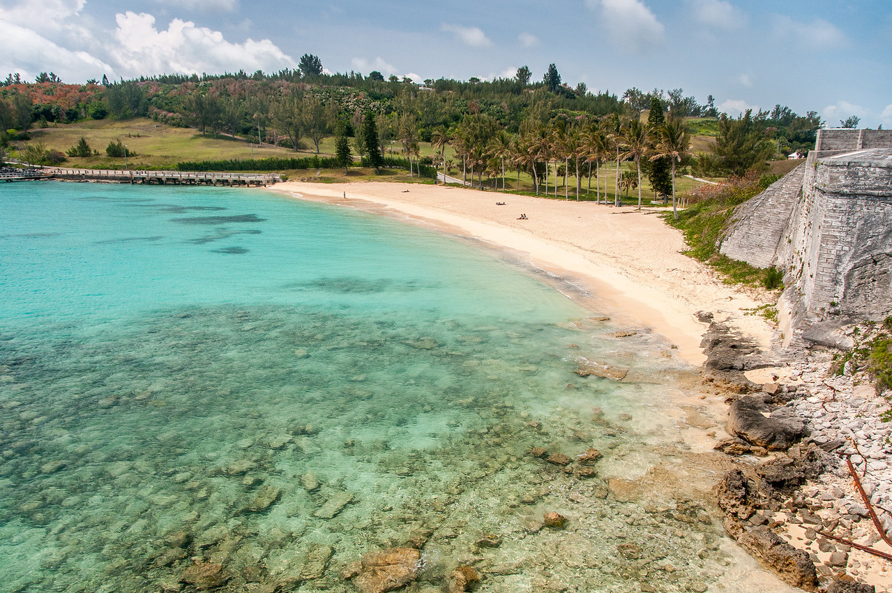 View of the beach from Fort St. Catherine in Bermuda