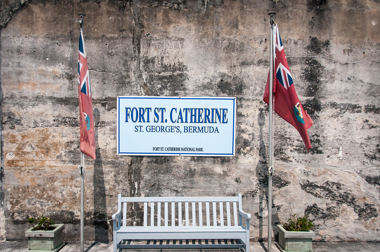Flags at Fort St. Catherine in St. George's Island, Bermuda