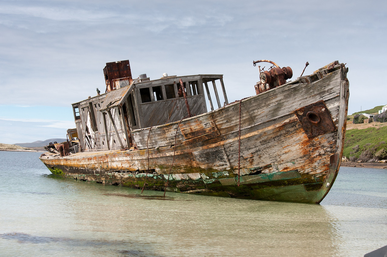 Shipwreck in New Island, Falkland Islands