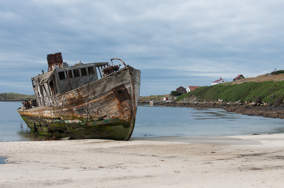 Shipwreck on a New Island Beach in the Falkland Islands