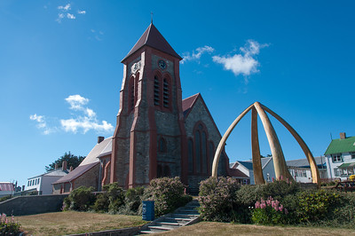 Whale bone arch in front of Christ Church Cathedral in Stanley, Falkland Islands