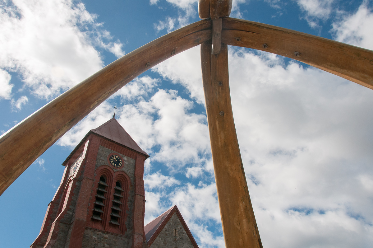 Anglican Cathedral and Whale Bone Arch in Stanley, Falkland Islands