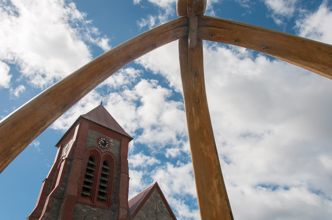 Clock tower as seen from Whale Bone Arch in Stanley, Falkland Islands