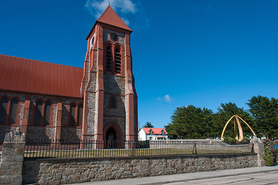 Christ Church Cathedral and Whale Bone Arch in Stanley, Falkland Islands
