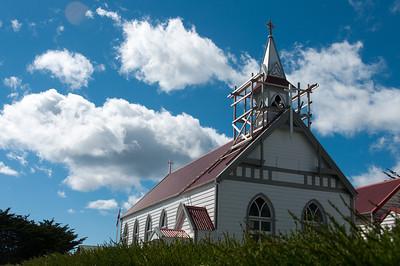 Church under construction in Stanley, Falkland Islands