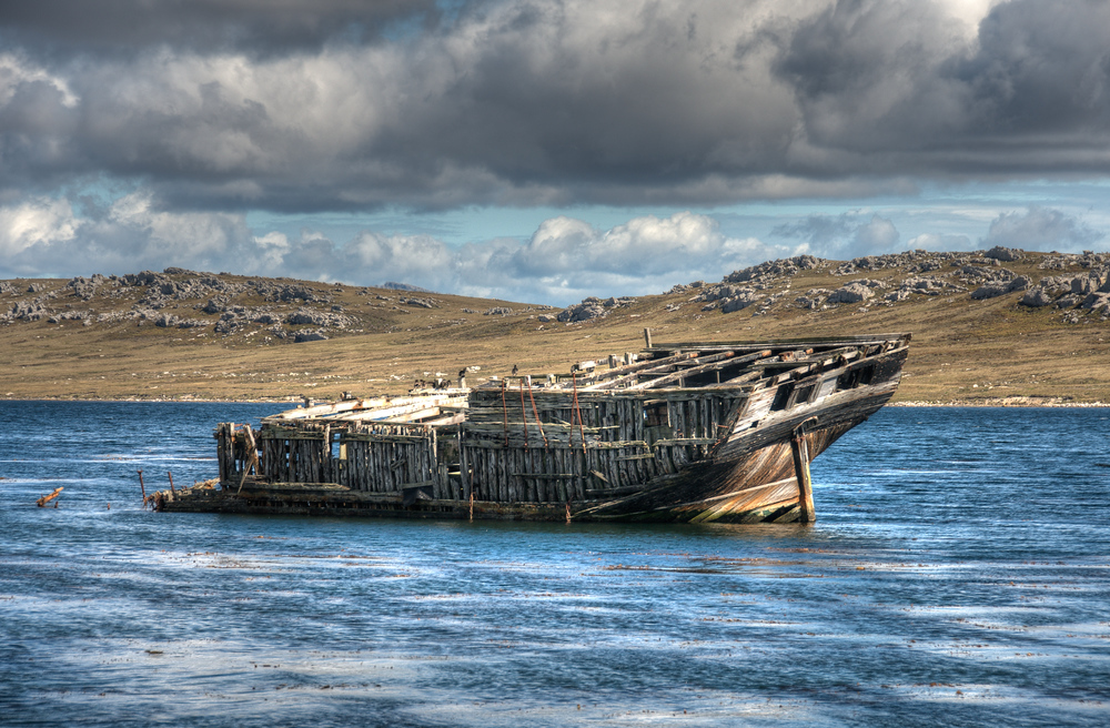 Shipwreck off Coast of Stanley, East Falkland Island