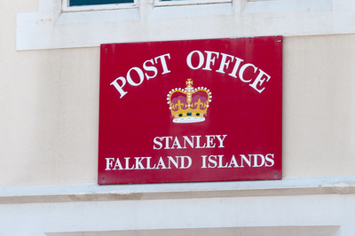 Sign at post office in Stanley, Falkland Islands