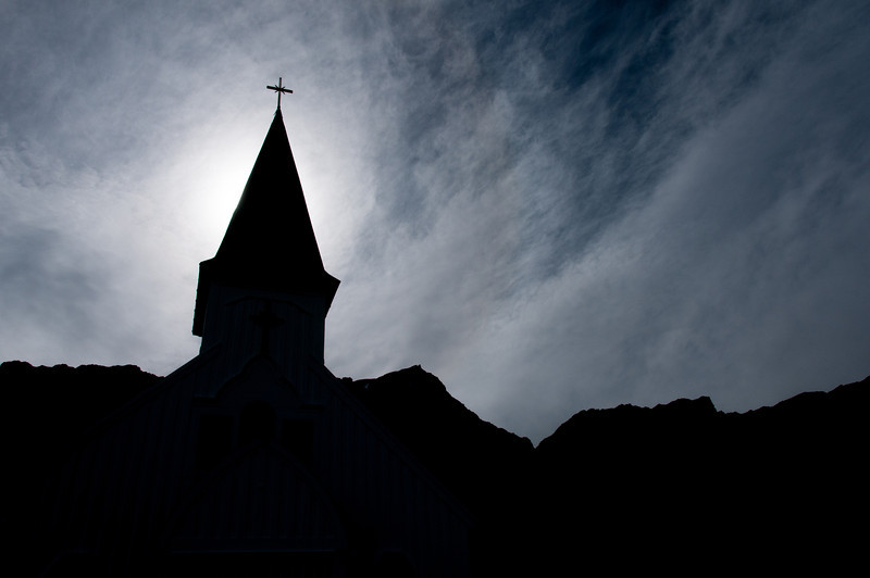 Silhouette of The Norwegian Church in Grytviken, South Georgia Island
