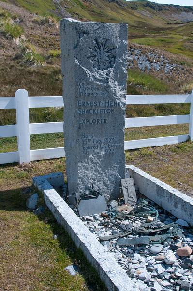 Shackleton grave in Grytviken, South Georgia Island