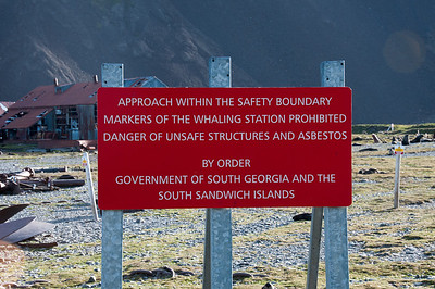Sign at former whaling station at Stromness Bay