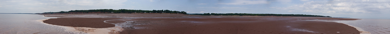 A 180-degree panorama of this area of Cobequid Bay at low tide.