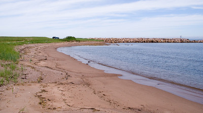 The harbour has its own beach of sorts.