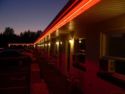 La Roma Motel has groovy red neon lights.