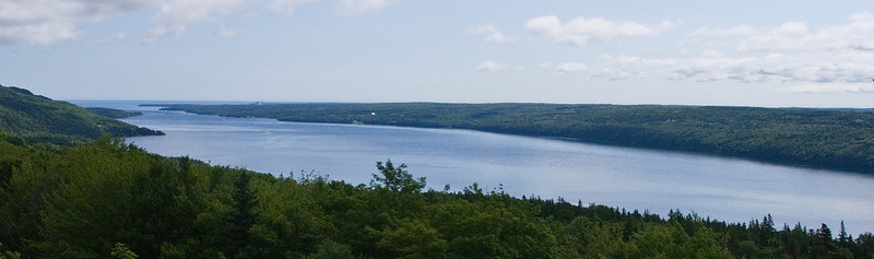At a turnout on the Trans Canada Highway, looking NW up Great Bras d'Or to the Atlantic Ocean.