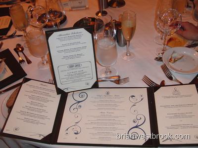 First night menu.  All photos (C) 2009 Brian M. Westbrook / brianwestbrook.com. For details: photos (AT) brianwestbrook (DOT) com