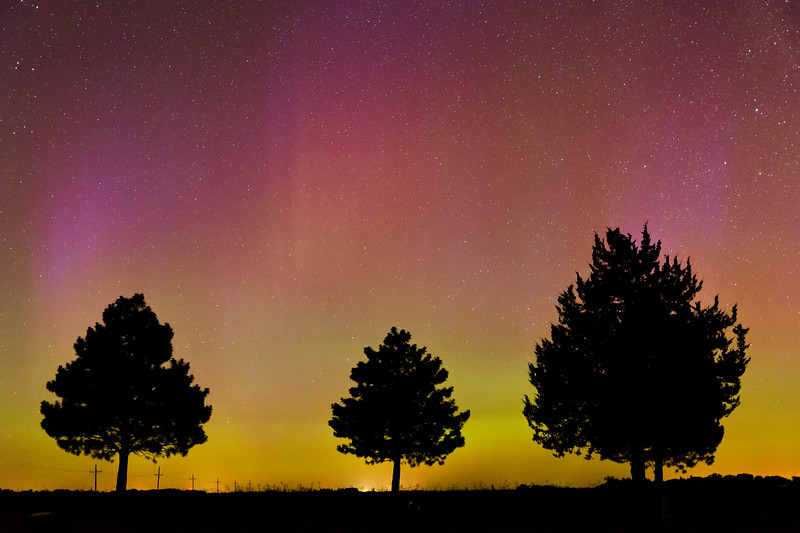 The Aurora Borealis (Northern Lights) dances across the night sky in front of the Milky Way near Agenda, KS, on the evening of June 22, 2015. Aurora displays visible to the naked eye this far south are fairly rare, probably occurring only once or twice a decade.