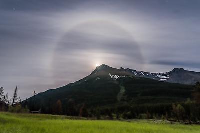 Lunar Halo over Mt. Blakiston