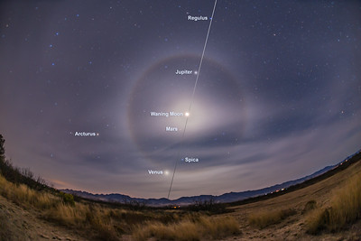 Lunar Halo and the Ecliptic (with Labels)