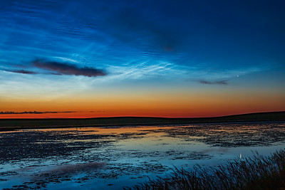Venus and Noctilucent Clouds over Prairie Pond