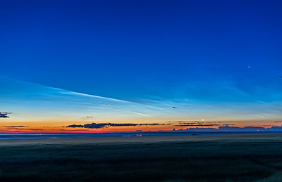 Noctilucent Clouds at Dawn with the Moon and Venus (HDR)