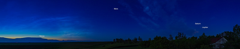 Four Planets Across the Dawn Sky with Labels (July 4, 2020)