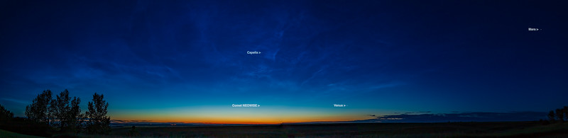 Noctilucent Cloud Panorama at Dawn (with Labels) (July 5, 2020)