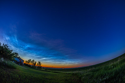 Noctilucent Clouds With Red Rimmed Top (June 27, 2021)