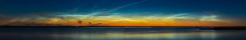 Noctilucent Clouds Panorama at Crawling Lake