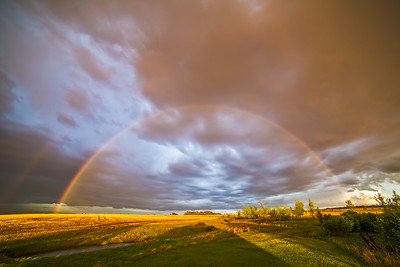 Rainbow over Prairie Field (Wide-Angle)