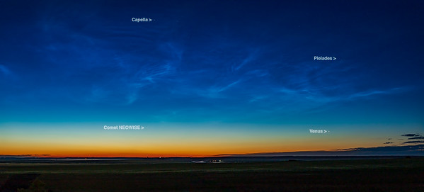 Comet NEOWISE at Dawn with Noctilucent Clouds (with Labels) (July 5, 2020)
