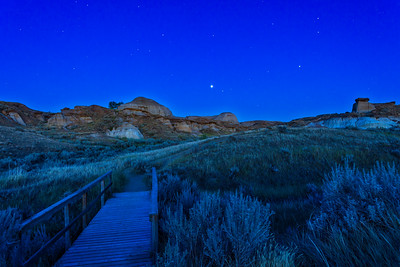 Planets Rising in Badlands Twilight