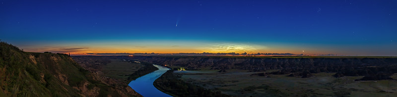Comet NEOWISE over Red Deer River Panorama (July 11, 2020)