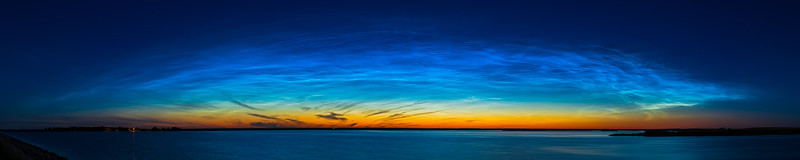 Noctilucent Clouds Panorama at Crawling Lake with 50mm Lens