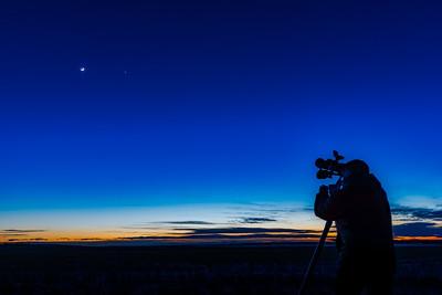 Selfie Silhouette with Binoculars Looking at Moon (Feb 27, 2020)