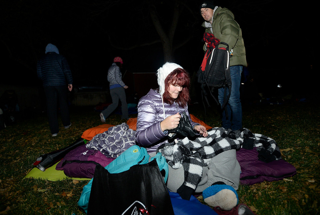 . BOULDER, CO - NOVEMBER 8, 2018: Jillian McKevitt and her uncle Baird McKevitt set out their sleeping bags during the Sleep Out hosted by Attention Homes to bring awareness to the homeless youth problem on Thursday night at the First United Methodist Church in Boulder. For more photos of the event go to dailycamera.com Jeremy Papasso/ Staff Photographer