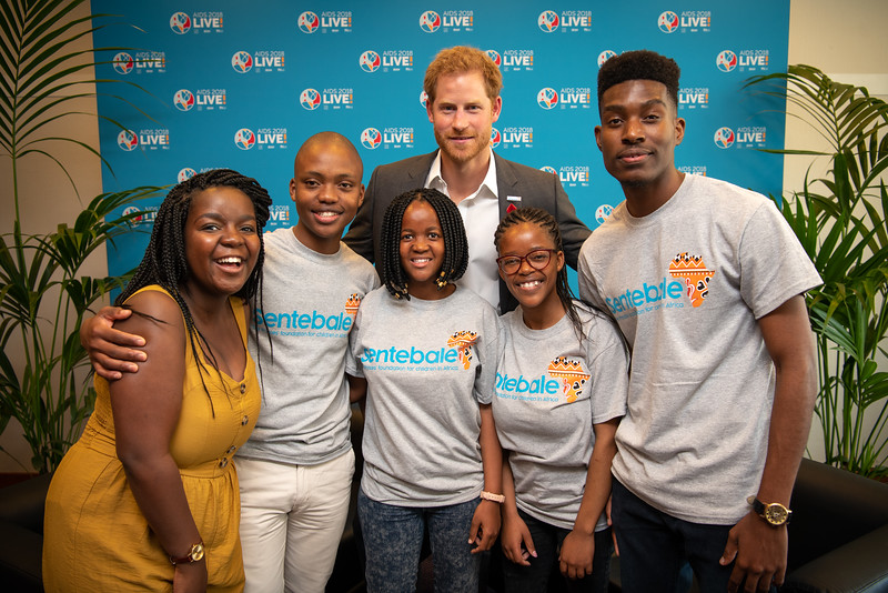 22nd International AIDS Conference (AIDS 2018) Amsterdam, Netherlands.  <br /> Copyright: Steve Forrest/Workers' Photos/ IAS<br /> <br /> Photo shows: The Duke of Sussex attends the AIDS2018 conference with Sentebale Let Youth Lead Advocates from Lesotho and Botswana.