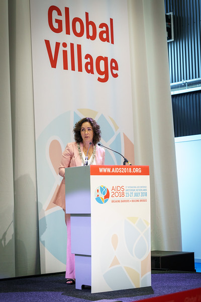 22nd International AIDS Conference (AIDS 2018) Amsterdam, Netherlands.  <br /> Copyright: Matthijs Immink/IAS<br /> <br /> Global Village Opening<br /> <br /> Photo shows: Mayor of Amstterdam Femke Halsema