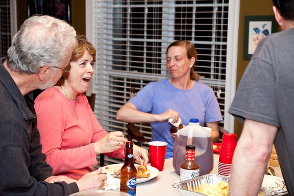 Patricia talking at Jennifer & Allen's