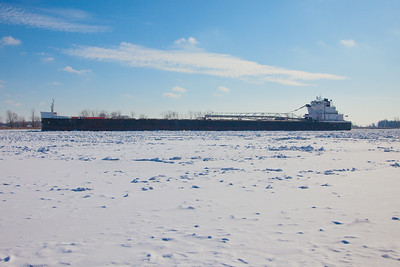 The American Mariner stalled in the ice on the St Clair River near Harsens Island