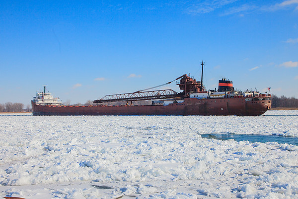 The Herbert C. Jackson stuck in the ice packed St Clair River near Harsen Island