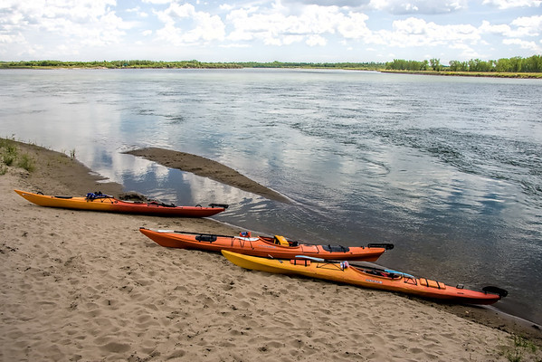 Kayaks on River
