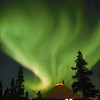 Aurora over yurt at Chena Hot Springs Resort.