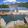 The outdoor rock lake at Chena Hot Springs Resort.
