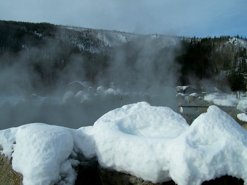 Credit: Chena Hot Springs Resort<br /> <br /> The outdoor rock lake at Chena Hot Springs Resort is hidden by a thick fog created from the steaming hot water and the cold winter air.