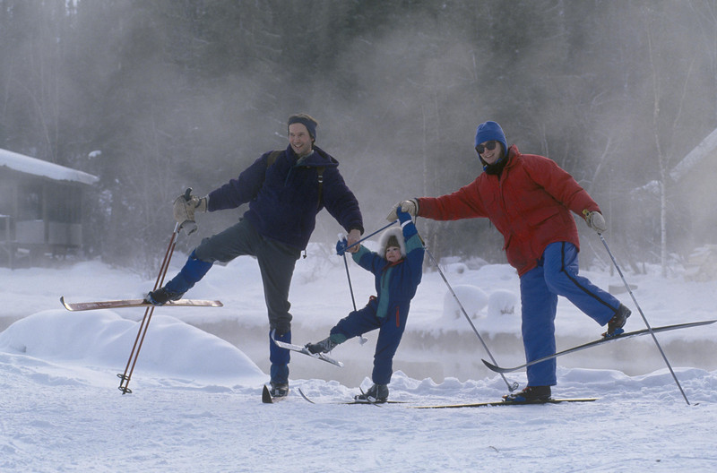 A family cross-country skiing at Chena Hot Springs Resort.