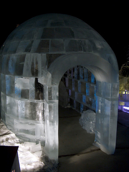 Credit: FCVB/Nicholas Jacobs<br /> <br /> Up-close view of an igloo made from ice at the Fairbanks Ice Museum.