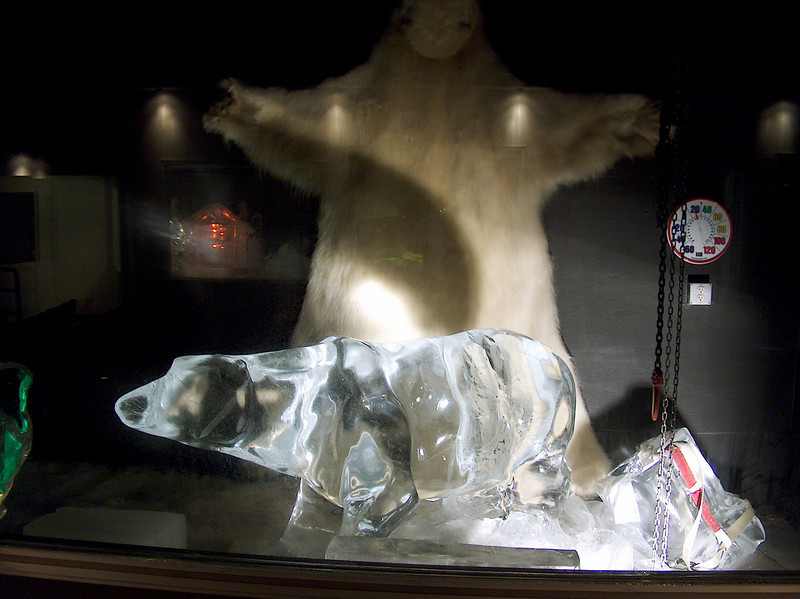 Credit: FCVB/Nicholas Jacobs<br /> <br /> A polar bear sculpted from ice sits in front of an authentic polar bear hide and a temperature guage showing the temperature inside the Fairbanks Ice Museum at 20°.