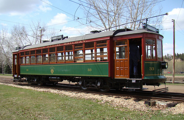 """Edmonton Streetcar #33 has been restored back to its original 1912 condition.<br /> <br /> For more information on Edmonton Streetcar #33 or the Edmonton Radial Railway Society, visit  <a href=""""http://www.edmonton-radial-railway.ab.ca/"""">http://www.edmonton-radial-railway.ab.ca/</a>."""