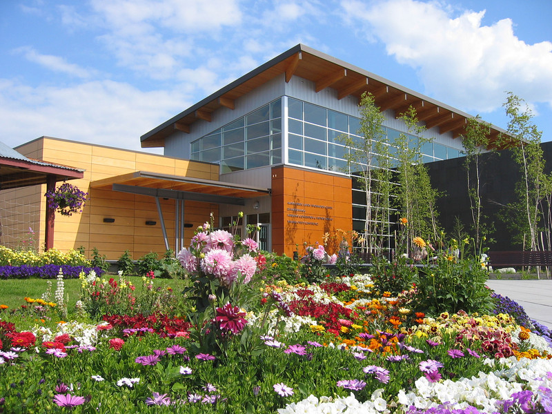 Credit: Angie Cerny/FCVB<br /> <br /> Flowers at the Morris Thompson Cultural and Visitors Center in Fairbanks, Alaska.