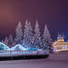 Pioneer Park lit up for the winter season in Fairbanks, Alaska